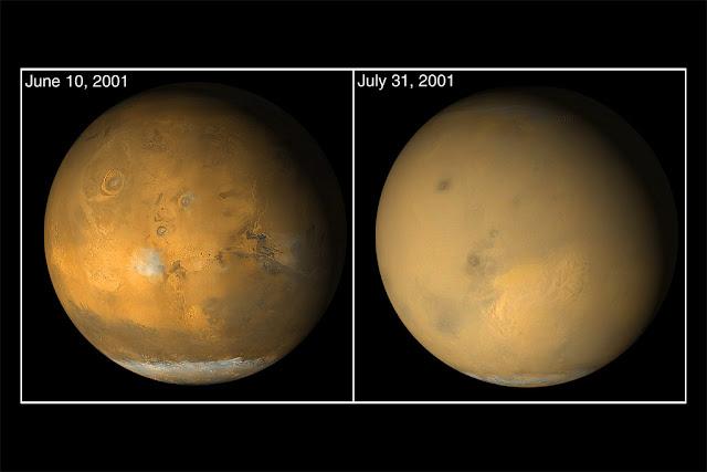 A diferença de Marte quando está passando por uma grande tempestade de areia global