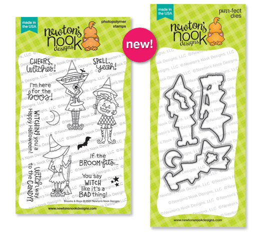 Brooms and Boos   Witch themed Halloween Stamp and Die Sets by Newton's Nook Designs