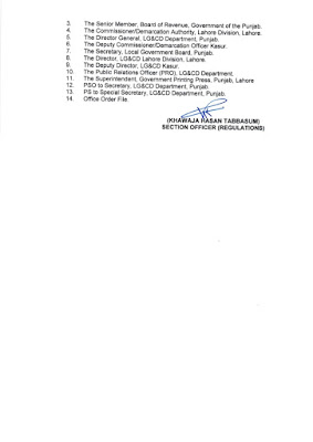 DEMARCATION OF TEHSIL COUNCILS AND ABOLISHED TOWN COMMITTEES OF DISTRICT KASUR
