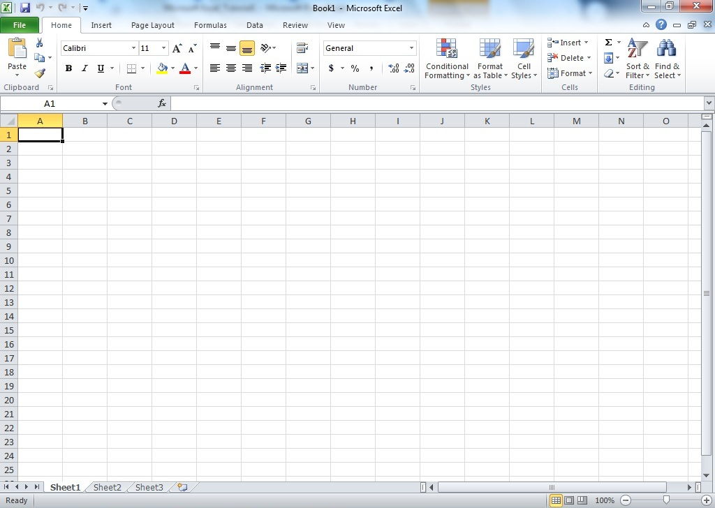 Microsoft Excel Screen