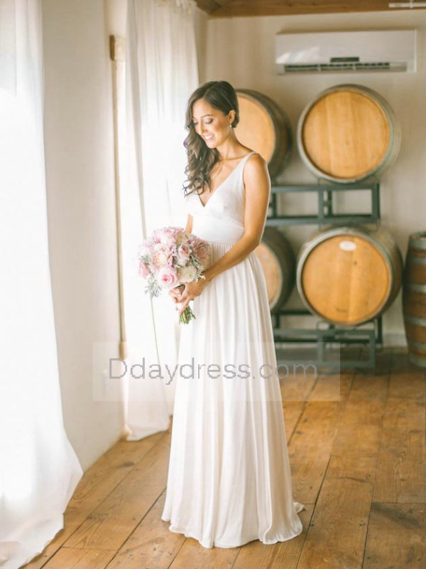 Stylish And Romantic Jewish V Neck Straps Back Natural Ruffles Wedding Dress