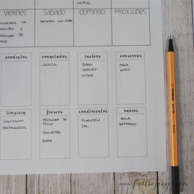 menu planner descargable