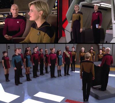 Early TNG uniforms worn by Enterprise D crew in Star Trek: The Next Generation's final episode