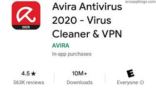 avira Antivirus have 4.5 Play store Ratings