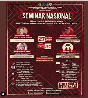Seminar Nasional Kesehatan Himpunan Mahasiswa Jurusan Analis Kesehatan Poltekkes Kemenkes Yogyakarta  2019