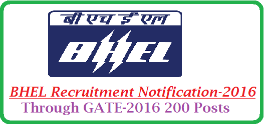 BHEL Recruitment Notification | Bharath Heavy Electronics Limited BHEL Recruitment Notification through GATE-2016 | Recruitment Notification from BHEL for 200 trainee Engineers through GATE-2016 | 200 Trainee Engineers Recruitment Notification from BHEL through GATE-2016 http://www.tsteachers.in/2016/01/bhel-trainee-engineers-recruitment-notification-2016-through-gate.html