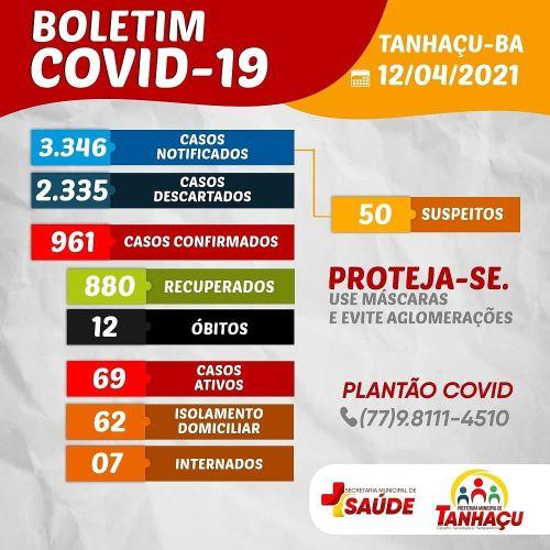 Tanhaçu registra 12º óbito por complicações da Covid-19