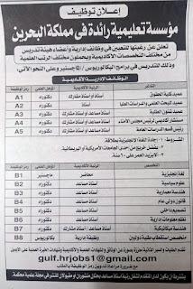 وظائف اعضاء هيئة تدريس للمصريين فى مملكة البحرين من جريدة الاهرام