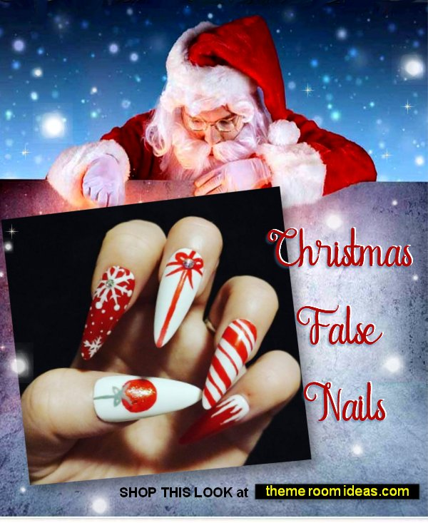 Christmas Press On Nails Christmas party NailsChristmas decorating party nails