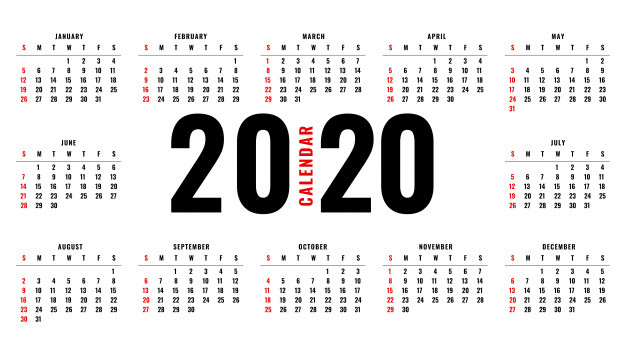 Calendario simple 2020 para imprimir