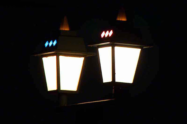 street lamps, night
