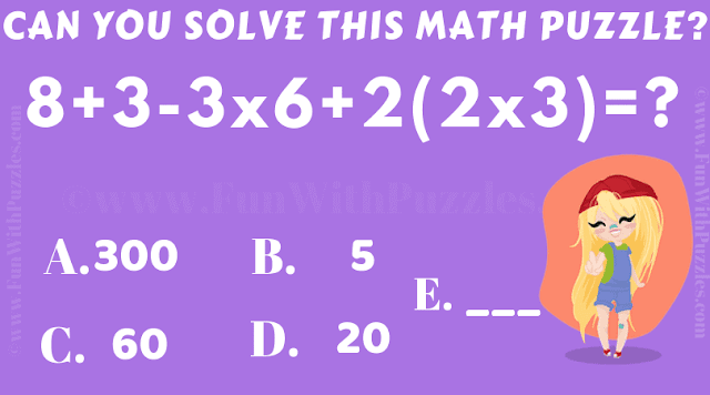 Can you solve this math puzzle? 8+3-3x6+2(2x3) = ?