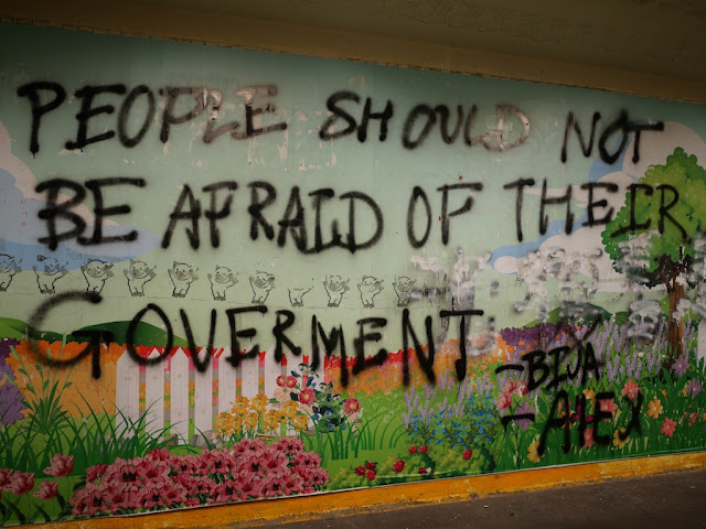 """People Should Not Be Afraid Of Their Goverment [sic]"" graffiti"