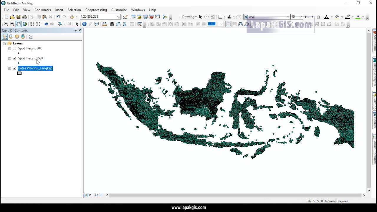 Shapefile Titik Ketinggian (Spot Height) Seluruh Indonesia