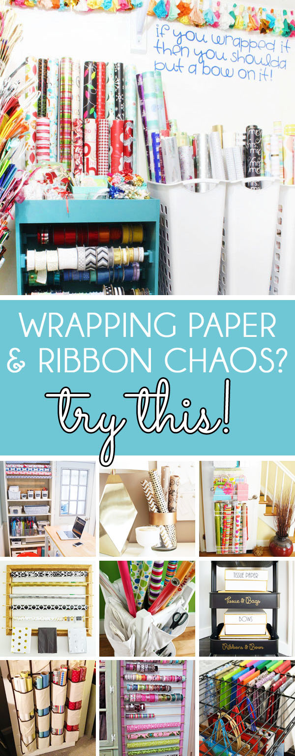 Wrapping Paper Organizer Ideas - how to store wrapping paper and organize gift wrapping supplies