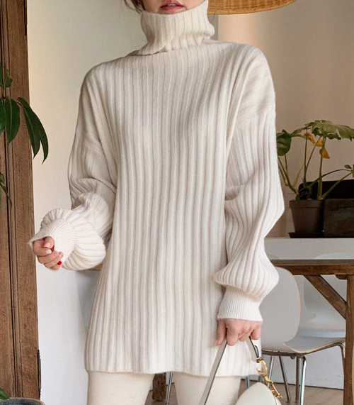 Funnel Neck Ribbed Longline Top