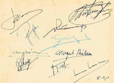 IV Torneo de Ajedrez de Berga 1954, firmas de los ajedrecistas participantes