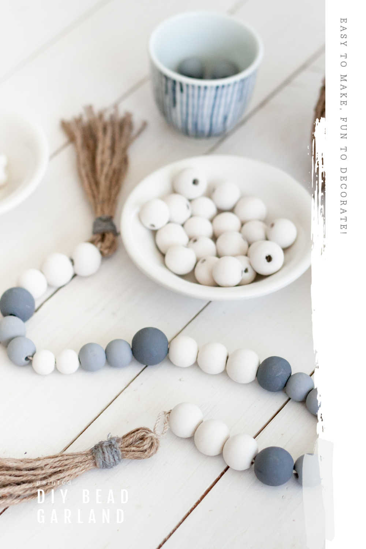 diy painted wood bead garland