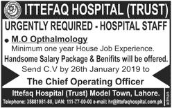 Jobs Vacancies In Ittefaq Hospital Lahore 20 January 2019