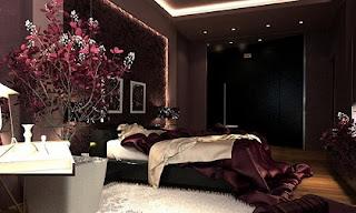 Habitación paredes púrpuras