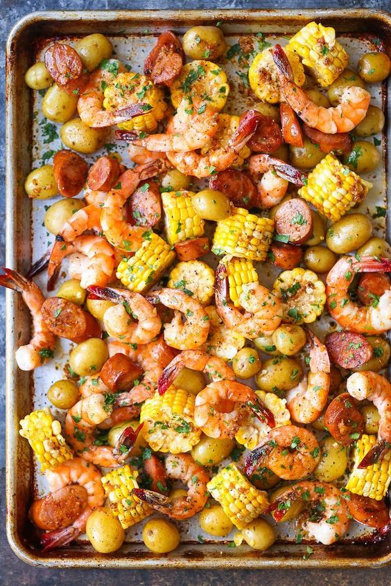 Easiest shrimp boil ever! And it's mess-free using a single sheet pan. That's right. ONE PAN. No newspapers. No bags. No clean-up!