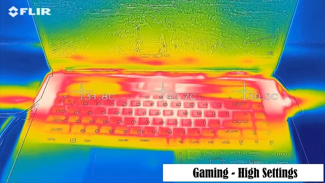 Tested the temperature rise on keyboard and palm rest during gaming at max settings on MSI GS65 Stealth-004 gaming laptop.