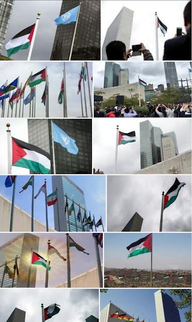 Bendera Paletina Dikibarkan di kantor