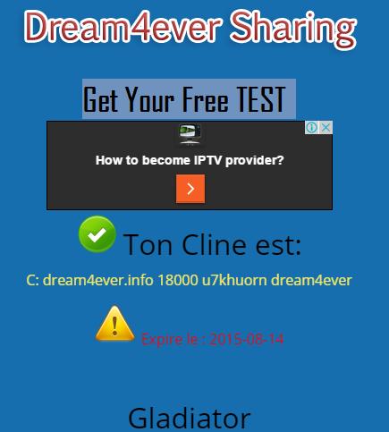 gladiator cccam gratuit