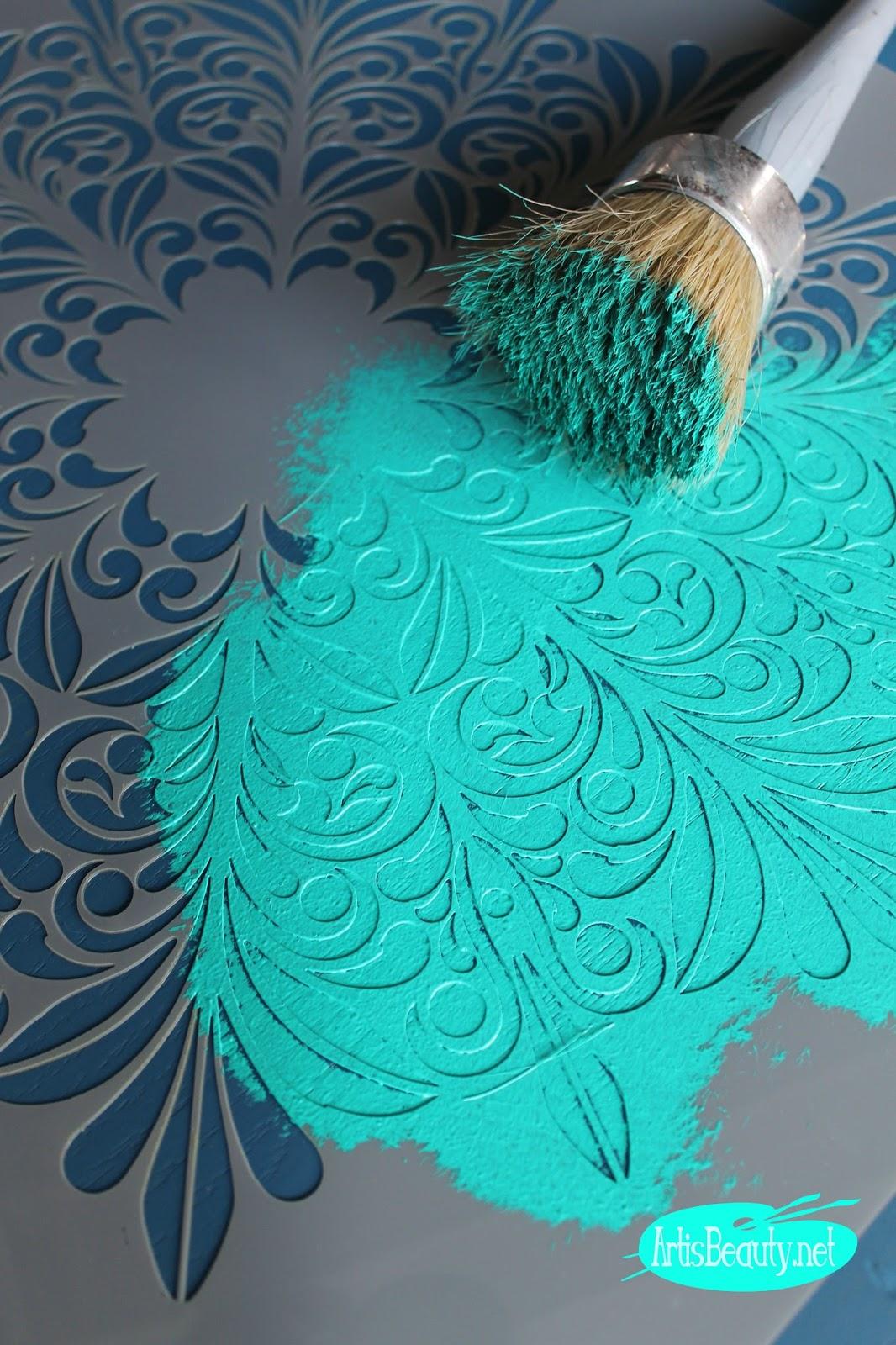 Marvelous deco art chalky finish paint fleur medallion stencil diy artwork boho chic stencil brush paint