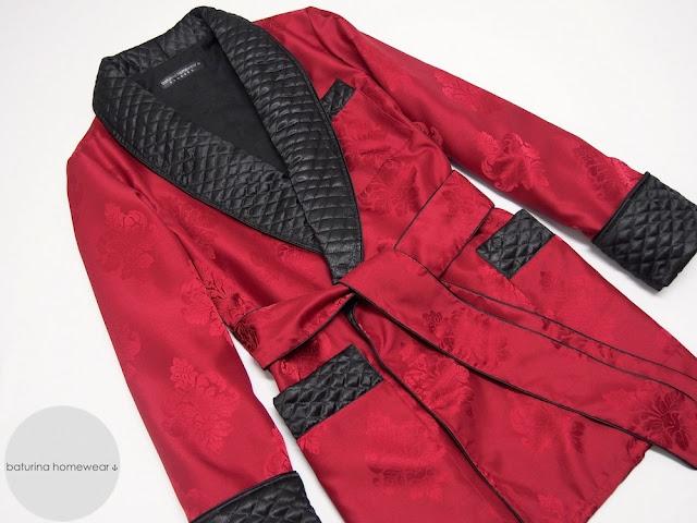 mens smoker robe cigar smoking jacker red paisley silk black quilted lapel gentleman robe english style vintage