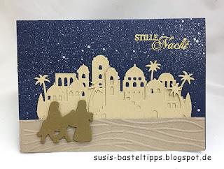 ankunft in bethlehem weihnachtskarte edgelits heilige nacht stampin up stempel stanzen bigshot