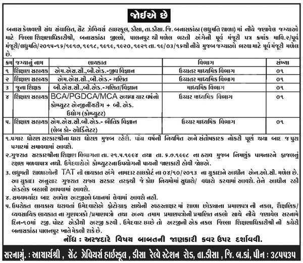 St. Xavier's High School Disha Shikshan Sahayak Recruitment 2016