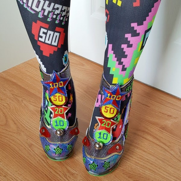 wearing pinball themed t-bar shoes with colourful gaming theme