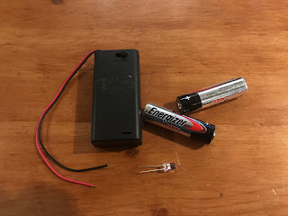 Battery box, LED and batteries