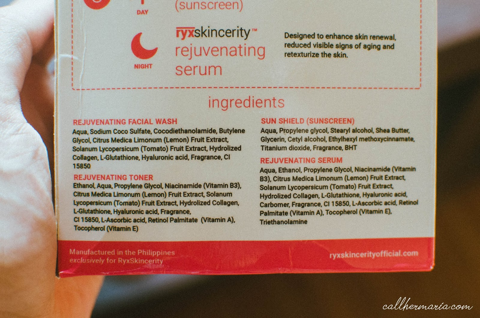 Ryx Skincerity Ingredients