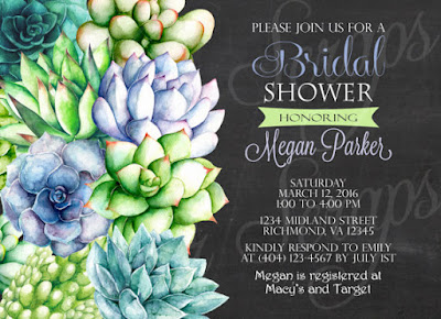 Watercolor Succulents - Rehearsal Dinner, Bridal, Couples, Baby Shower, Engagement Party Invitation - Bohemian Rustic Digital DIY anniversary birthday party 5x7 outline green lime turquoise aqua blue purple lavender pink orange red salmon leaves leaf plant plants cactus cacti unique shabby chic artist artistic paint hand painted chalkboard chalk typography text fonts black white bridesmaids luncheon