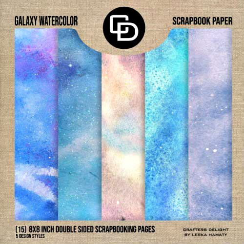 box of celestial watercolor scrapbooking papers in five colorways