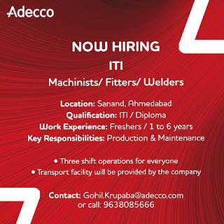 ITI / Diploma Jobs Vacancy in Adecco India Pvt.Ltd For Sanand, Ahmedabad  Location