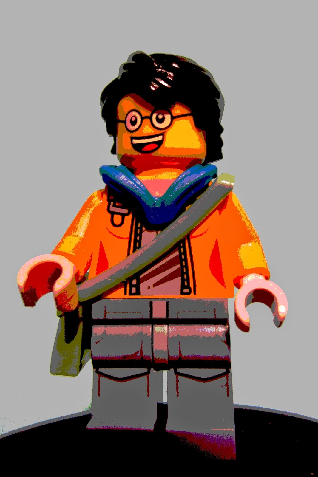photo of LEGO minifig with stylized graphics