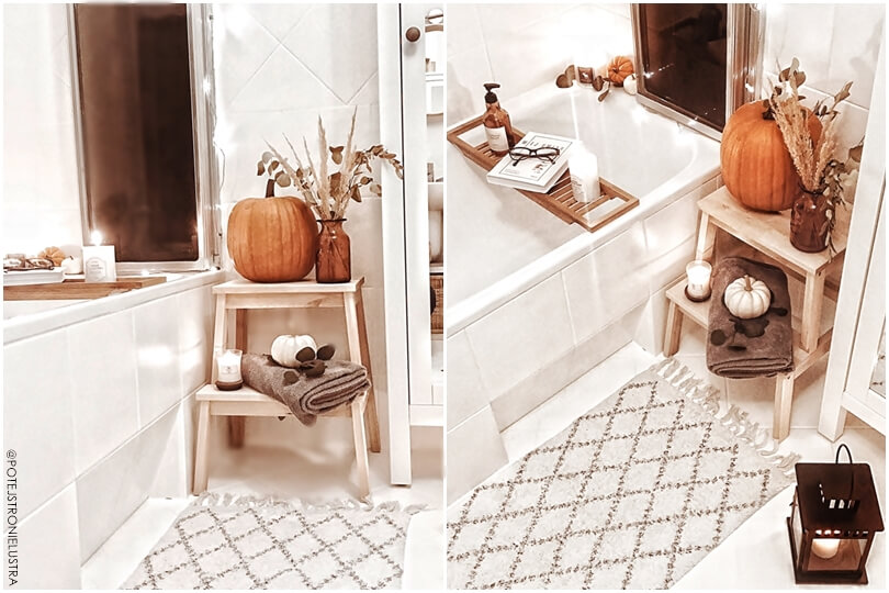 biała łazienka i jesienne dekoracje, malowanie płytek w łazience