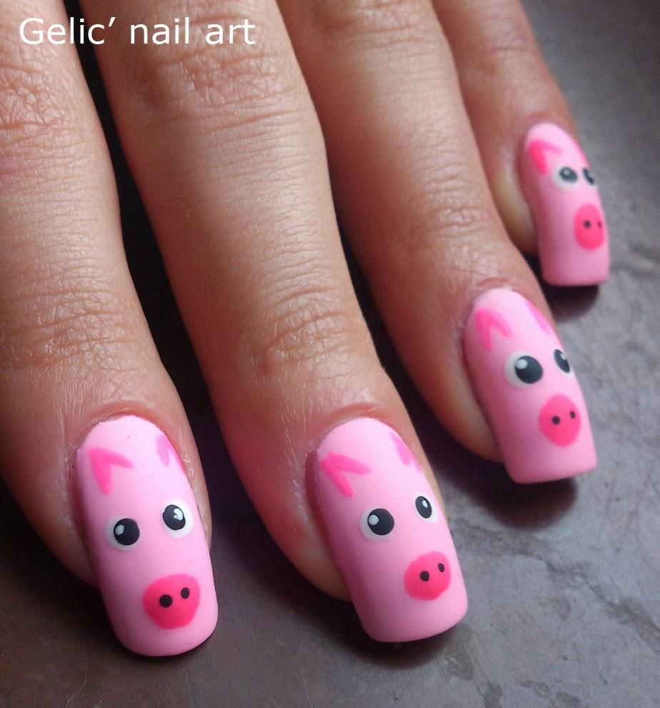 Gelic' nail art: Pink pig nail art
