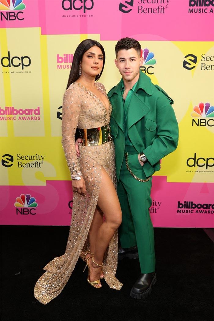 Priyanka Chopra and Nick Jonas arrive at the 2021 Billboard Music Awards