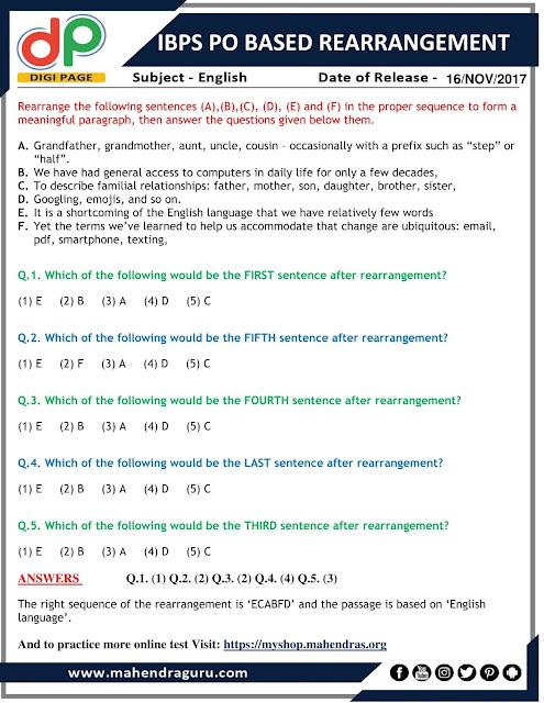 DP | IBPS PO Based Rearrangement | 16 - 11 - 2017