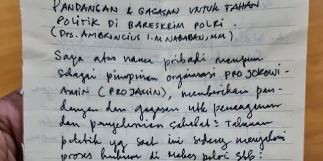 Ini Surat Ambroncius Nababan Yang Terkesan Menyejukkan Hati