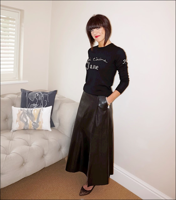My Midlife Fashion, Boden studded point flat, marks and spencer faux leather midi skirt, bella freud je taiime jane jumper