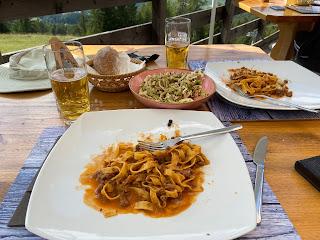 Pasta at Rifugio Mietres.