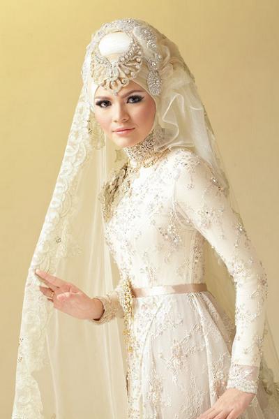 baju kebaya pernikahan pengantin muslim modis