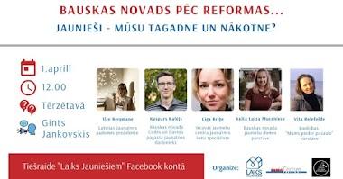 """Biedrība """"Laiks Jauniešiem"""" un laikraksts """"Bauskas Dzīve"""" turpina diskusiju ciklu, šajā reizē runājot par jaunatnes politiku pēc administratīvi teritoriālās reformas."""