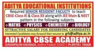 CBSE Aditya academy junior lecturer jobs