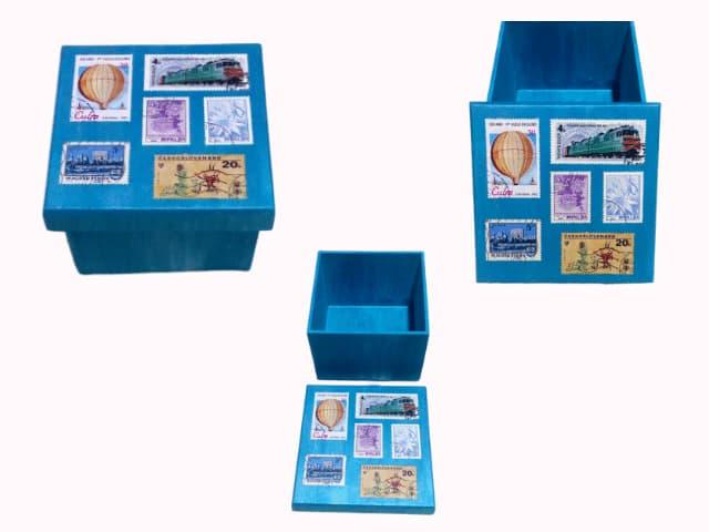 caixa artesanal modelo selos